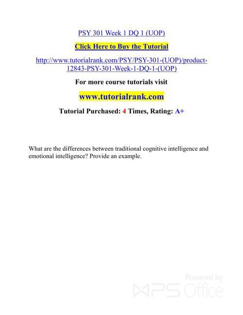 PSY 301 Week   Academic professor / Tutorialrank.com