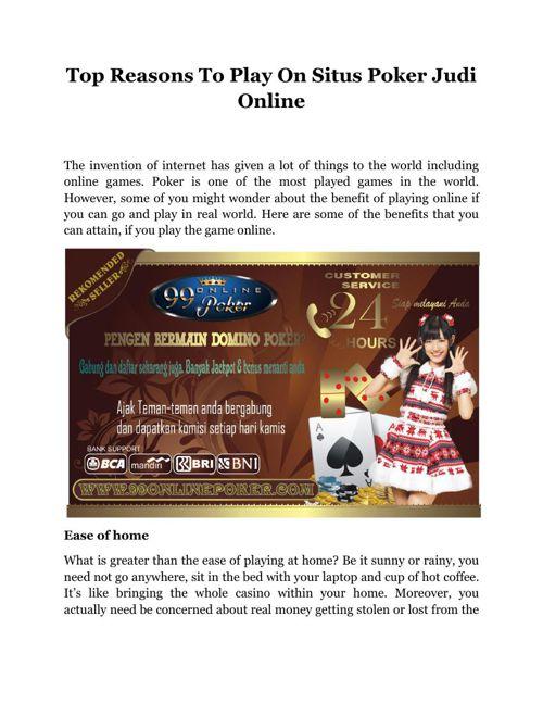 Top Reasons To Play On Situs Poker Judi Online