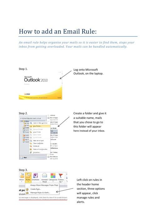 Email Rule Helpsheet