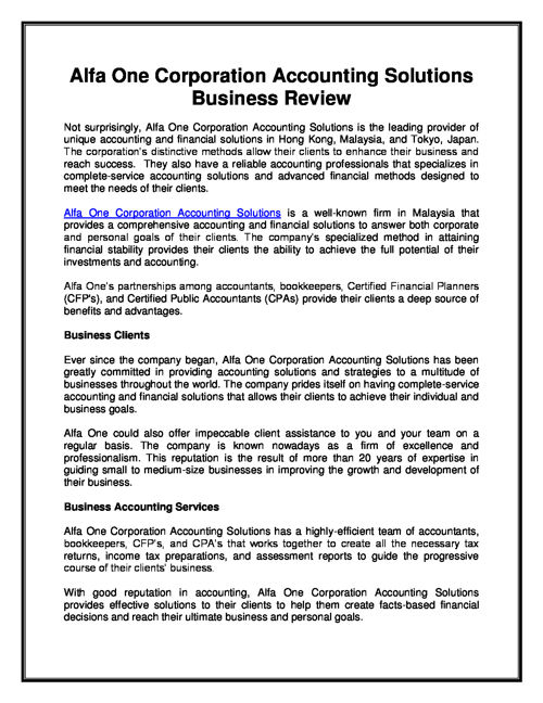 Alfa One Corporation Accounting Solutions Business Review