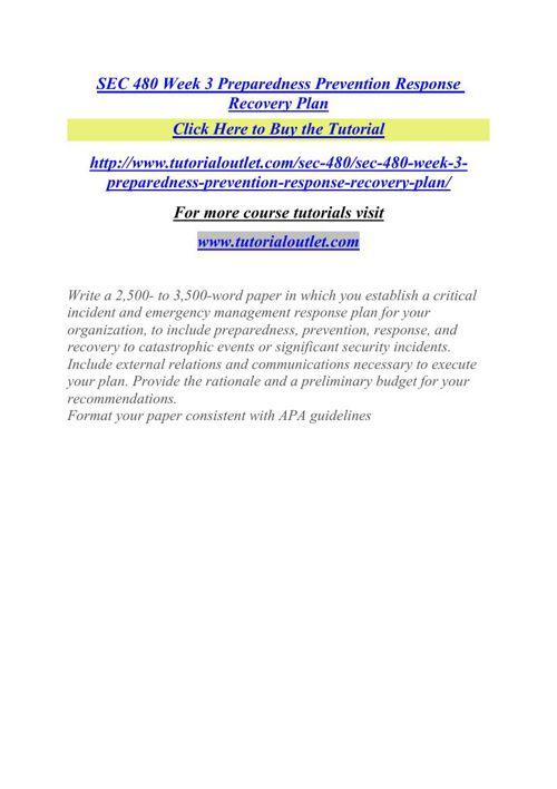 SEC 480 Week 3 Preparedness Prevention Response Recovery Plan