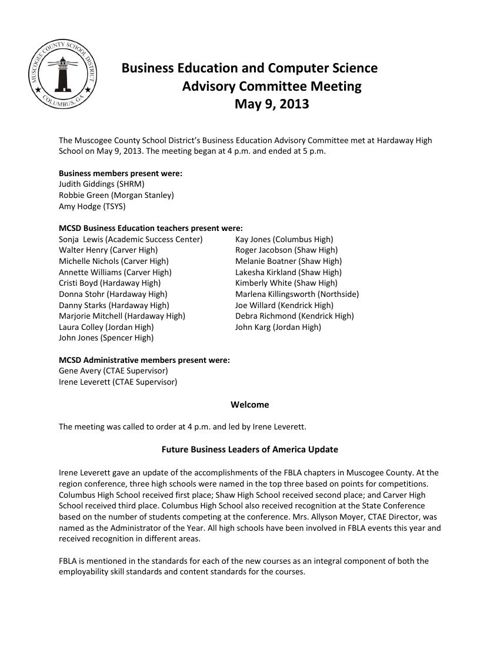 Bus Ed Adv Committee Minutes - 05 09 2013
