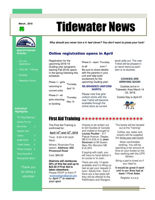 Tidewater Area Newsletter  - March 2018