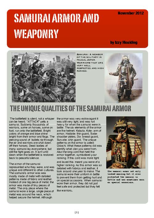 Samurai Armor and Weaponry