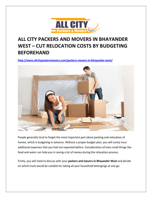All city packers and movers in Bhayander West