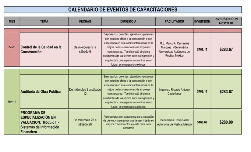 Calendario Capacitaciones 2011 - 2012
