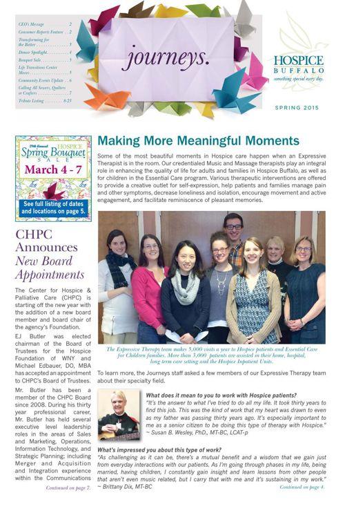 Hospice Buffalo Spring Journeys Newsletter 2015