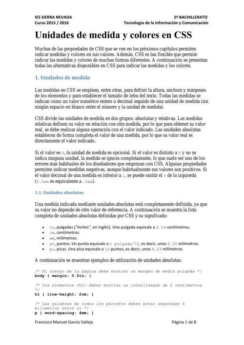 Unidades de Medida y Colores CSS