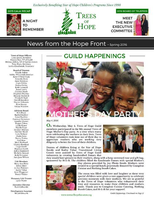 Trees of Hope Spring 2016 Newsletter