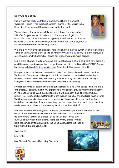 Grade 3 ePals 1st Letter