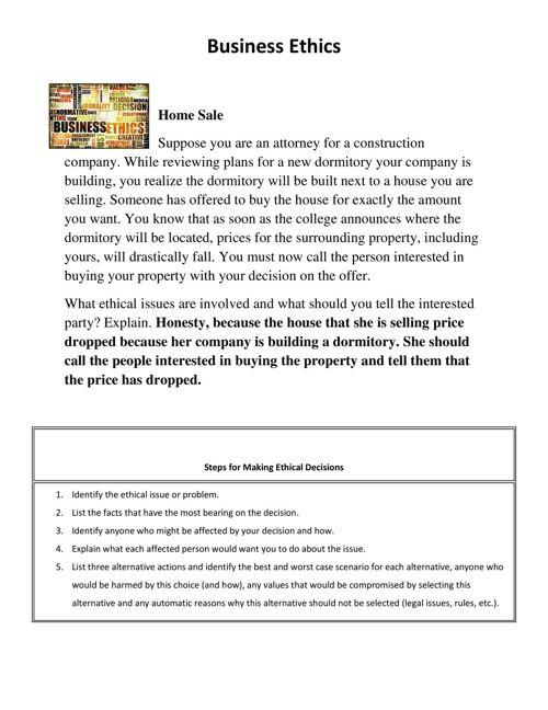 Business Ethics - Home Sale Scenario