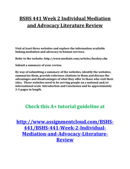 BSHS 441 Week 2 Individual Mediation and Advocacy Literature Rev