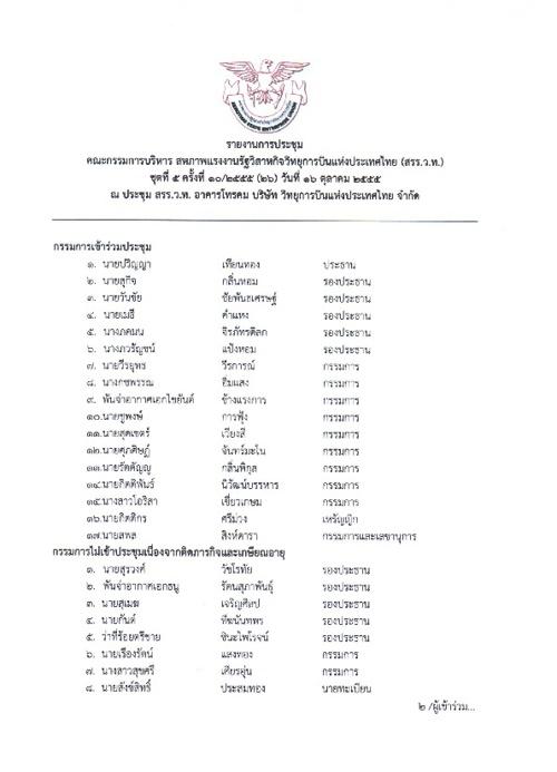 รายงานการประชุม เดือนตุลาคม 2555