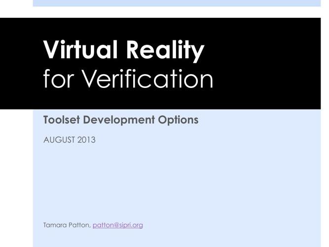 VR for Verification