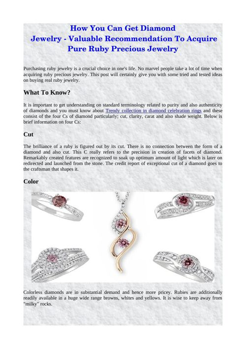 How You Can Get Diamond Jewelry - Valuable Recommendation To Acq