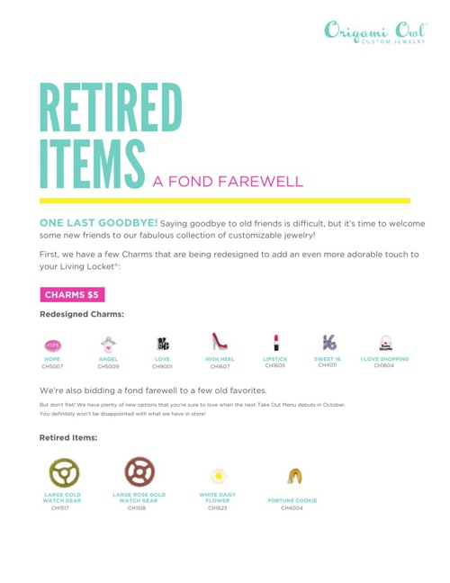Origami Owl Retired Items: Fall 2013