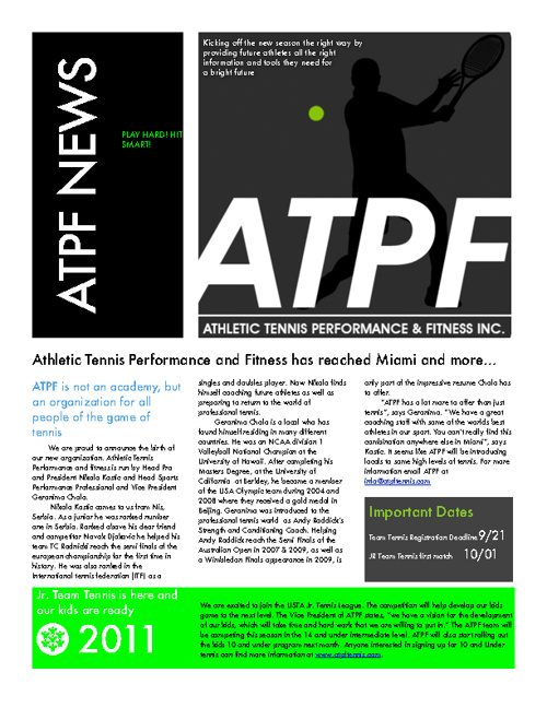 Athletic Tennis Performance and Fitness Newsletter