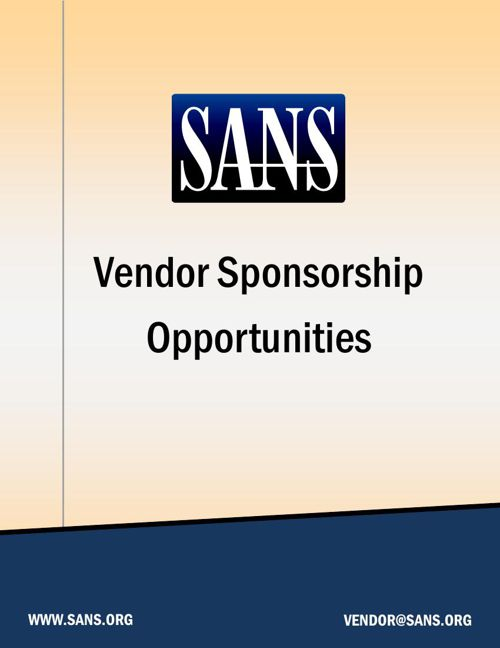 SANS 2016 Vendor Sponsorship Opportunities