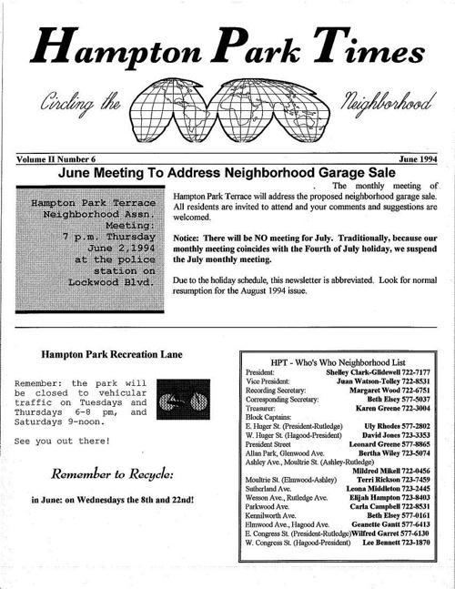 HPT Newsletter June 1994