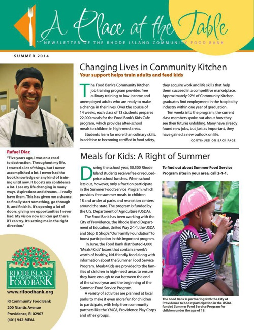 Food Bank Summer 2014 News