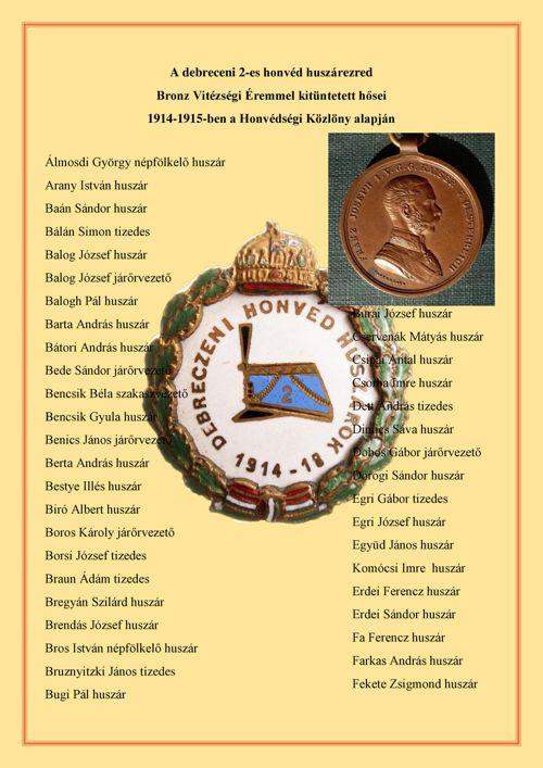 2-es honvéd huszárezred Bronz Vitézségi Éremmel kitüntettjei