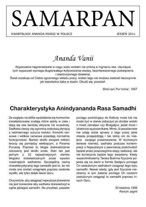 Samarpan Jesień 2011 - Kwartalnik Ananda Margi w Polsce