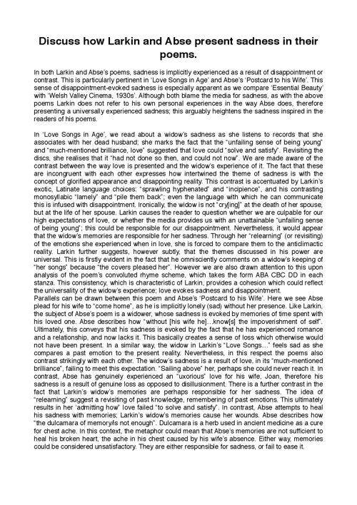 x3 A-grade Larkin/Abse essays