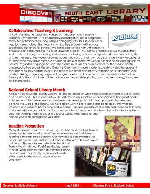 Discover South East Library - April 2014 Newsletter