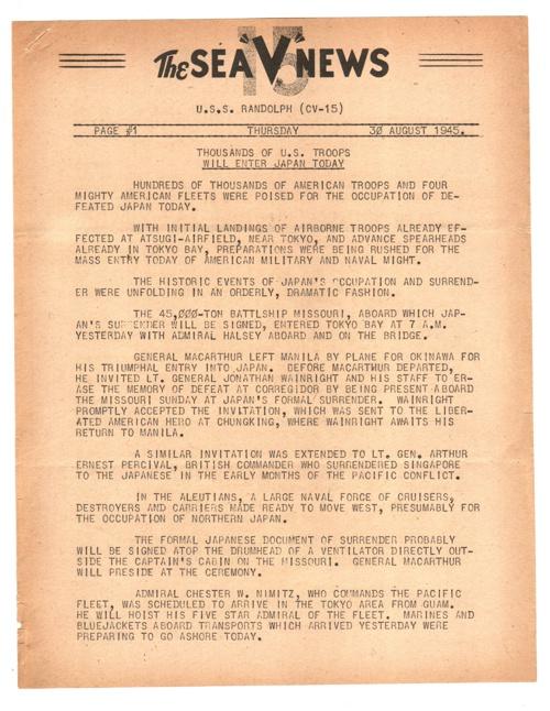 30 AUG 1945 SEA V NEWS