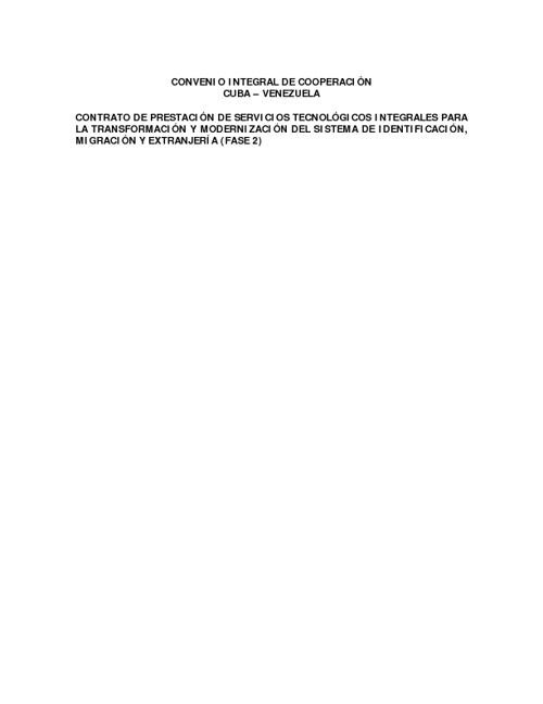 Contrato entre Vzla y Cuba Sistema de Identificación
