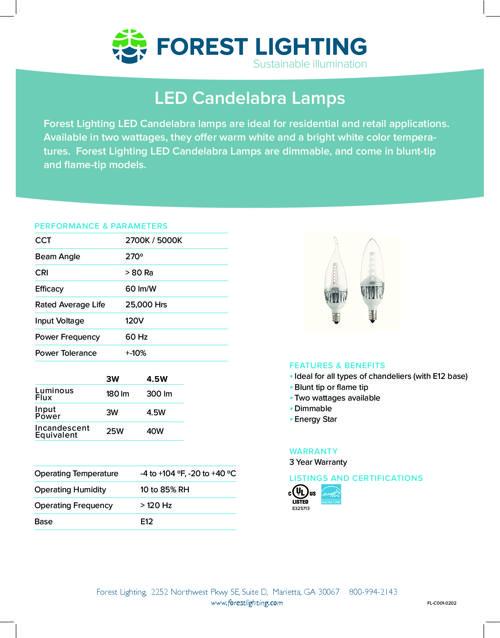 Candelabra LED Lamps Complete Specification