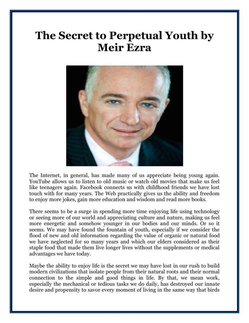 The Secret to Perpetual Youth by Meir Ezra