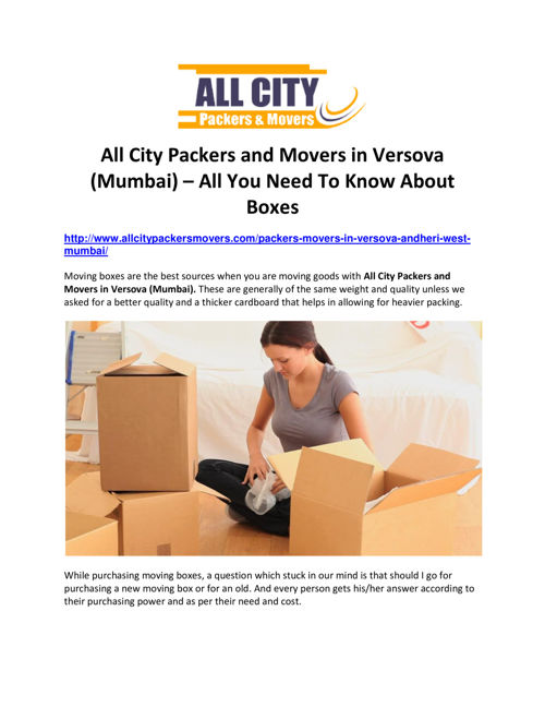 All City Packers and Movers in Versova