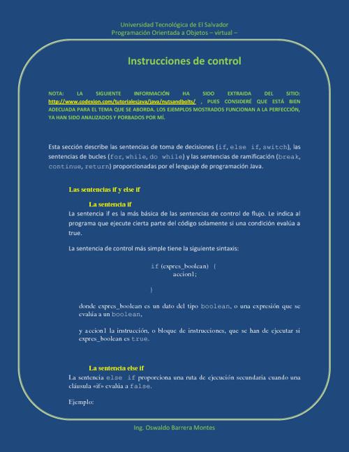instrucciones de control.
