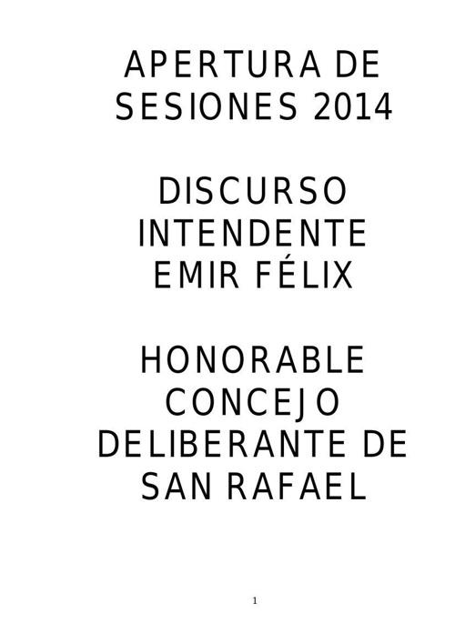 Apertura de Sesiones 2014 - Municipalidad de San Rafael