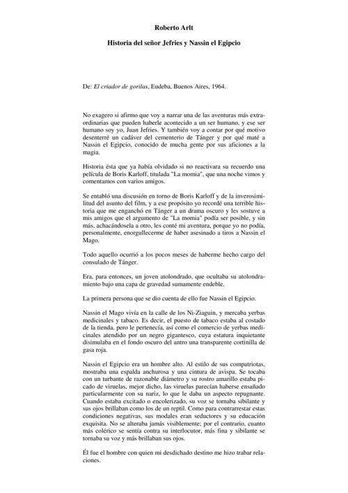 Roberto Arlt-Historia del se_or Jefries y Nassin el Egipcio