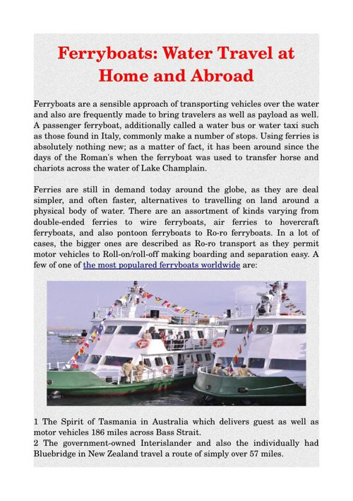 Ferryboats: Water Travel at Home and Abroad