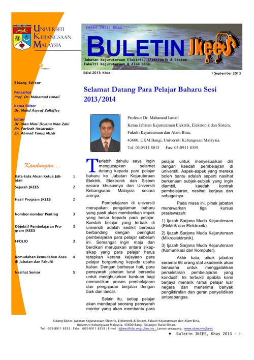 Buletin JKEES Edisi Khas September 2013
