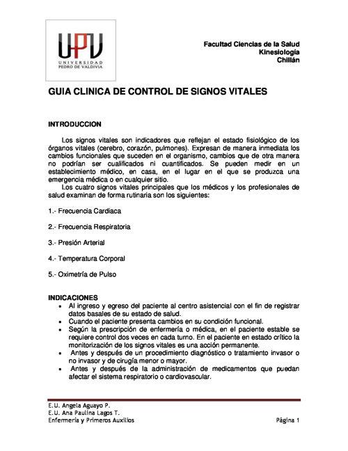 GUIA TECNICA DE CONTROL DE SIGNOS VITALES