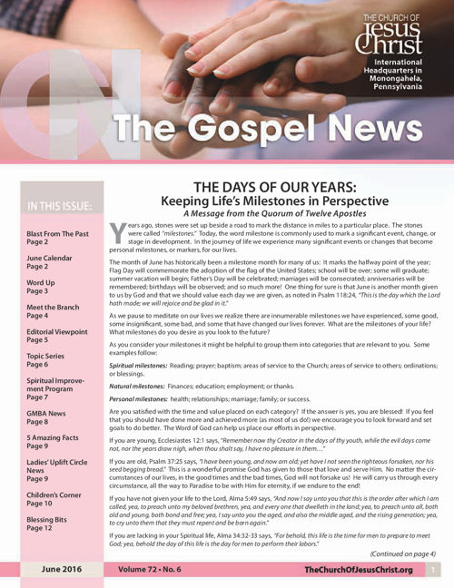 The Gospel News - June 2016