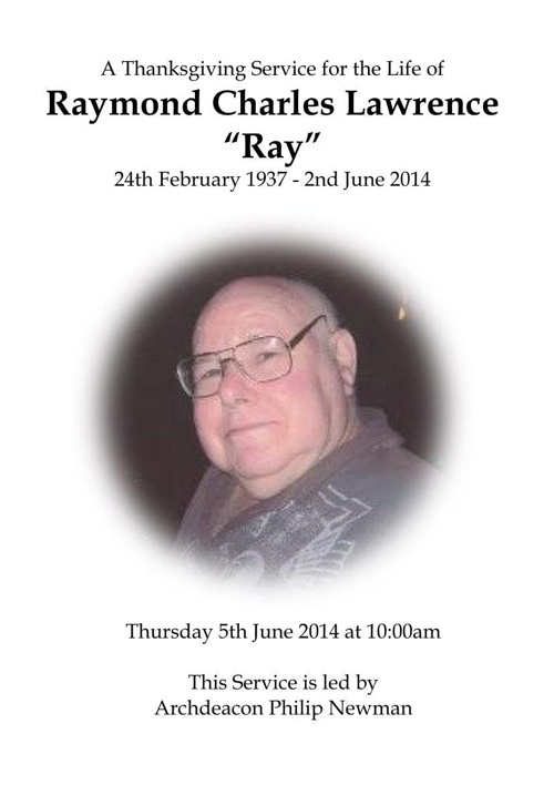 8 Order of Service for Raymond Lawrence