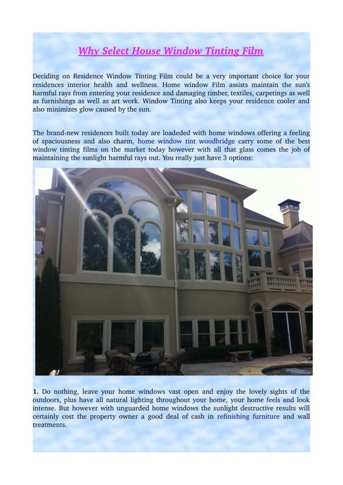 Why Select House Window Tinting Film