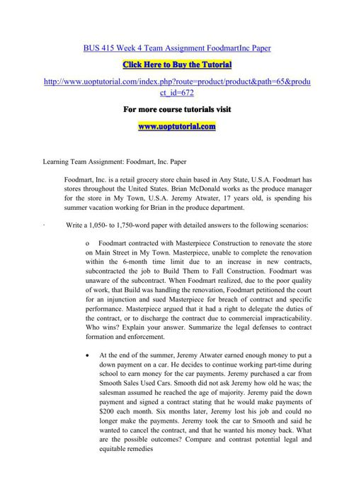 BUS 415 Week 4 Team Assignment FoodmartInc Paper