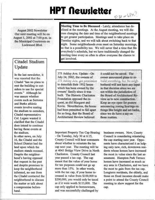 HPT Neighborhood August 2002