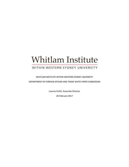 Whitlam Institute Foreign Policy White Paper Submission 2017