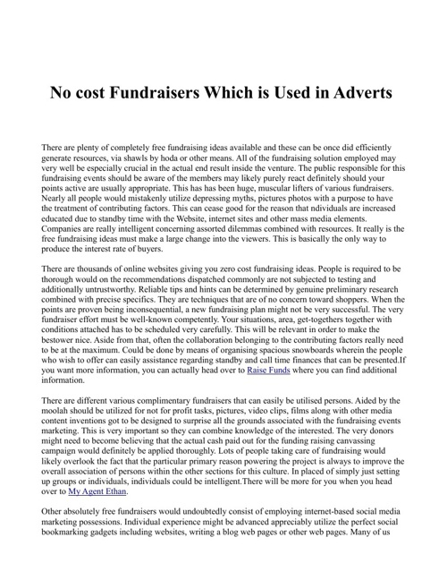 No cost Fundraisers Which is Used in Adverts