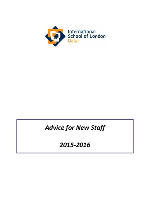Advice booklet for new staff 2015-2016