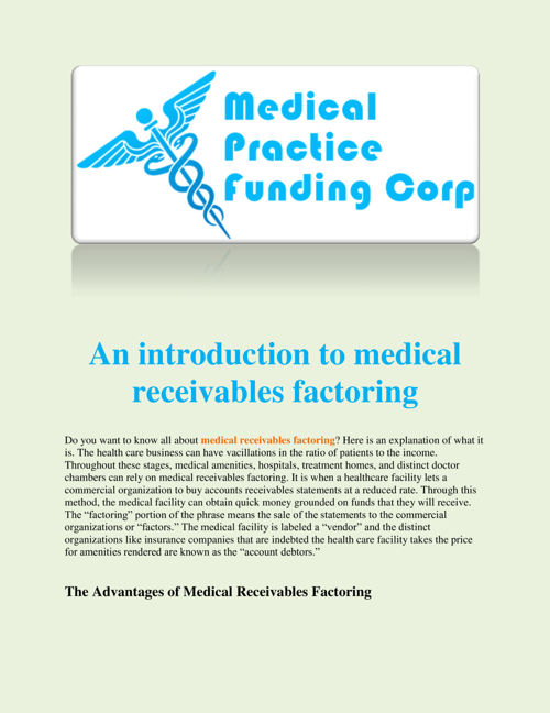 An introduction to medical receivables factoring