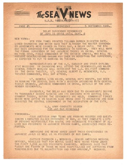 05 SEP 1945 SEA V NEWS
