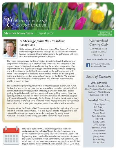 WCC Member Newsletter   April 2017